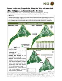 Recent land cover change in the Silang-Sta. Rosa sub-watershed of the Philippines, and implications for flood risk